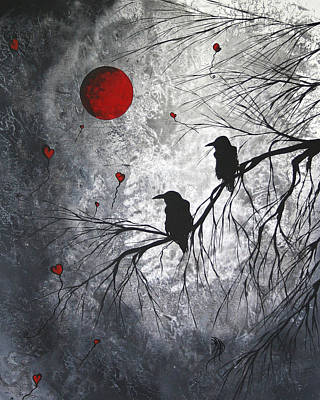 Whimsical Painting - Original Abstract Surreal Raven Red Blood Moon Painting The Overseers By Madart by Megan Duncanson