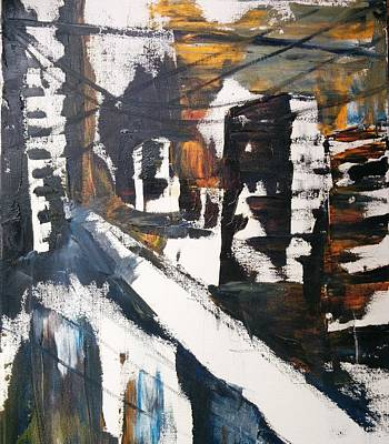 Original Art - Abstract Oil Painting - 'busy City' By Fiona Wade Print by Fiona Wade