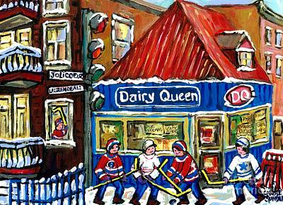 Original Canadian Hockey Art Paintings For Sale Snowfall At Dairy Queen Ville Emard Montreal Winter  Print by Carole Spandau