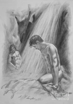 Male Nude Drawing Drawing - Original Charcoal Drawing Art Male Nude By Twaterfall On Paper #16-3-11-16 by Hongtao Huang