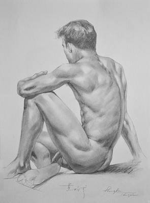 Male Nude Drawing Drawing - Original  Drawing Artwork Male Nude Gay Interest Man Body On Paper #605 by Hongtao     Huang