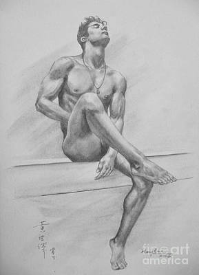 Original Drawing Charcoal Male Nude Boy Man On Paper #16-3-29-01 Original by Hongtao Huang
