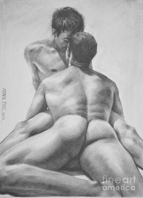 Original Drawing Sketch Charcoal Male Nude Gay Interest Man Art  Pencil On Paper -0028 Original by Hongtao     Huang