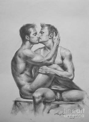 Original Drawing Sketch Charcoal Male Nude Gay Interest Man Art Pencil On Paper -0036 Original by Hongtao     Huang