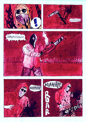 Dark Evil Scary Drawing - Original Handcoloured Copie Jjr Comic From 1995 by Joerg Federmann Typhoonart