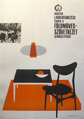 Mid Century Furniture Drawing - Original Hungarian Poster Ad For Modern Lakberendezesi Or Modern Furnishings by So-Ky