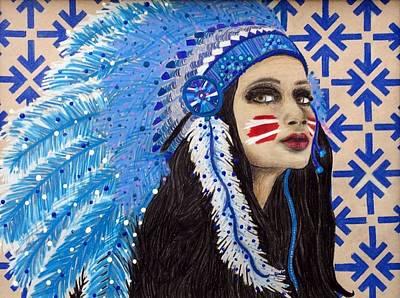 Wall Hanging Drawing - Original Native Goddess by Kristen Alberti
