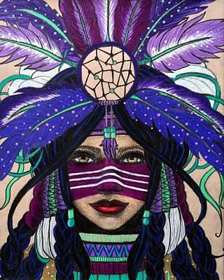Wall Hanging Drawing - Original Native Princess by Kristen Alberti