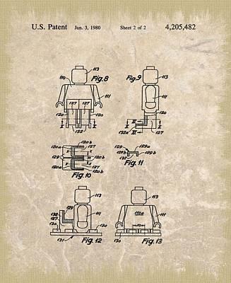 Brick Building Mixed Media - Original Lego Man Patent by Dan Sproul