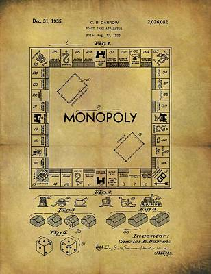 Fun Card Mixed Media - Original Monopoly Board Game Patent by Dan Sproul