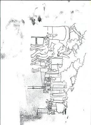 Original Montpellier Monoprint Print by Tom  Layland