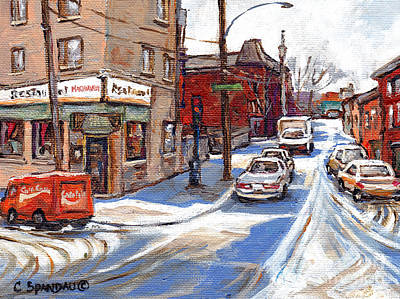 Local Restaurants Painting - Original Montreal Paintings For Sale Tableaux De Montreal A Vendre Pointe St Charles Scenes by Carole Spandau