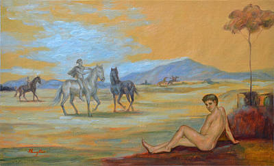 Statue Portrait Drawing - Original Oil Painting Art Male Nude With Horses On Canvas #16-2-5 by Hongtao     Huang