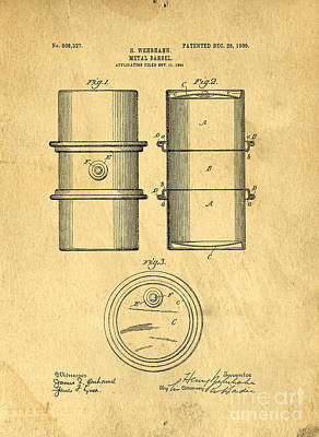 Drum Drawing - Original Patent For The First Metal Oil Drum by Edward Fielding