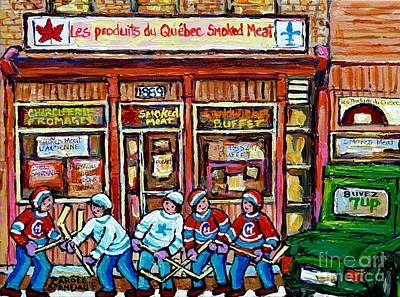 Original Street Hockey Art Paintings For Sale Les Produits Du Quebec Smoked Meat Pointe St Charles  Print by Carole Spandau