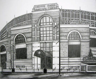 Orioles Drawing - Oriole Park Camden Yards by Juliana Dube