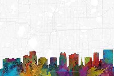 Orlando Digital Art - Orlando Cityscape And Streetmap Skyline by Jurq Studio
