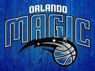 Blue Barn Doors Mixed Media - Orlando Magic Graphic Barn Door by Dan Sproul