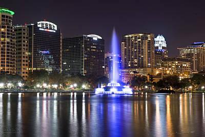 Fountain Photograph - Orlando Skyline by Shane Psaltis