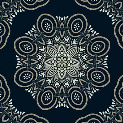 Spokes Painting - Ornate Exotic Mandala In Black Cream White And Dark Blue by Elaine Plesser