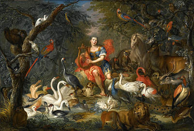 Orpheus Painting - Orpheus Charming The Animals by Franz Christoph Janneck and Carl Wilhelm de Hamilton