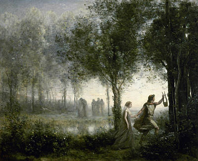Jean-baptiste Art Painting - Orpheus Leading Eurydice From The Underworld by Jean-Baptiste-Camille Corot