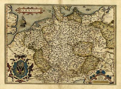 Ortelius's Map Of Germany, 1570 Print by Library Of Congress, Geography And Map Division