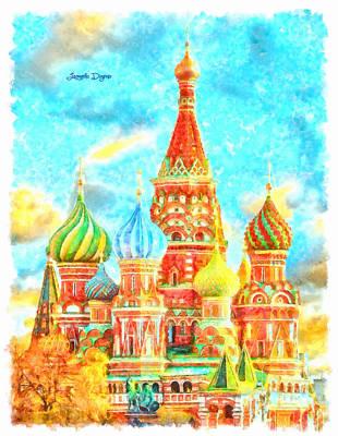 Religious Digital Art - Ortodox Moscow  - Watercolor Style -  - Da by Leonardo Digenio