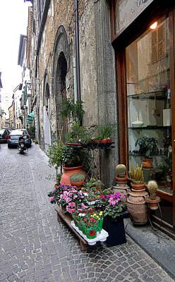 Orvieto Photograph - Orvieto Italy Flower Shop by Mindy Newman