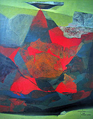 Cosmos Painting - Os1958ar010ba Abstract Landscape Of Potosi Bolivia 21.9 X 27.6 by Alfredo Da Silva