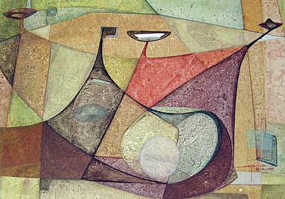 Cosmic Space Painting - Os1960ar001ba Abstract Design 16.75x11.5 by Alfredo Da Silva