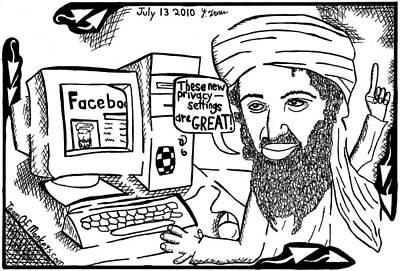Osaman Bin Laden On Facebook By Yonatan Frimer Print by Yonatan Frimer Maze Artist