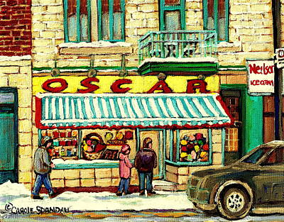 Montreal Winterscenes Painting - Oscar 's Candy Store Montreal by Carole Spandau