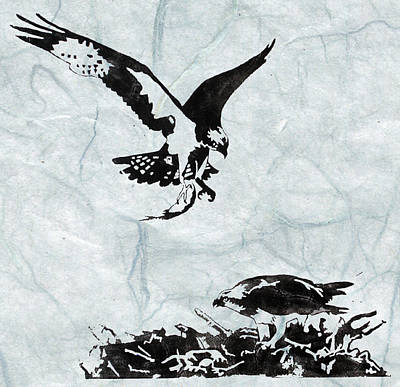 Lino Painting - Osprey by Becca Thorne