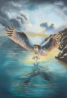 Osprey Mixed Media - Osprey Diving by Holly Whiting