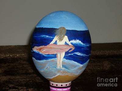 Ostrich Mixed Media - Ostrich Egg - The Wind by Gladis Sagi