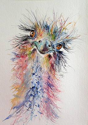 Ostrich Painting - Ostrich by Kovacs Anna Brigitta