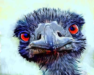Ostrich Digital Art - Ostrich Portrait by Scott Wallace