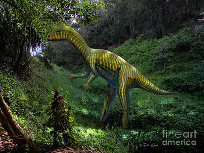 Dinosaur Mixed Media - Othniela In Jungle by Frank Wilson