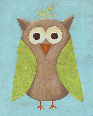 Otis The Owl Nursery Art Print by Katie Carlsruh