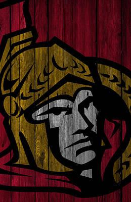 Ice Hockey Painting - Ottawa Senators Wood Fence by Joe Hamilton