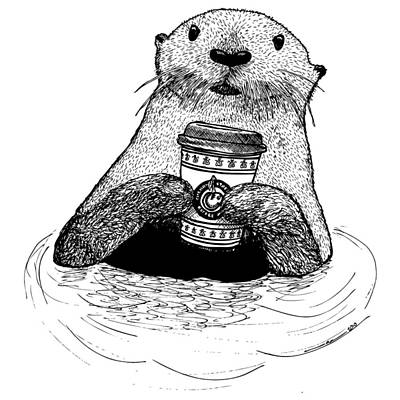 Otter Drawing - Otter Drinking Coffee by Karl Addison