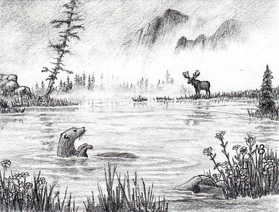 Otter Drawing - Otter Fog by Nils Beasley
