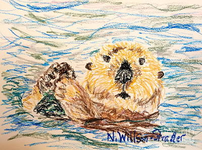 Otter Drawing - Otter Fun by N Willson-Strader