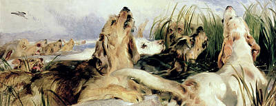 Otter Hounds Print by Sir Edwin Landseer