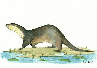 Otter Print by Juan Bosco