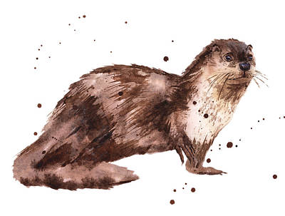 Otter Painting - Otter Painting by Alison Fennell