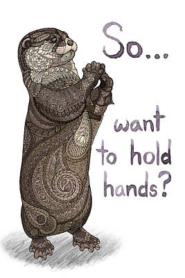 Otter Mixed Media - Otter Valentine by ZH Field