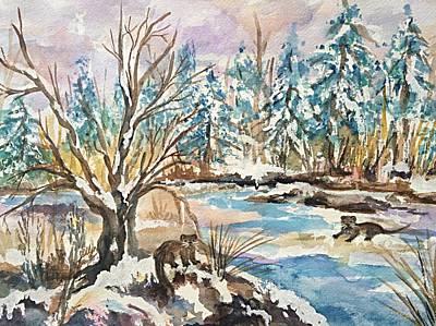 Otters In Winter Woods Original by Ellen Levinson