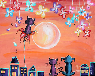 Friends Painting - Our Favourite Sunset - For Children Paintings By Valentina Miletic by Valentina Miletic